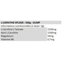 olimp-L-carnitine-xplode-300g-values